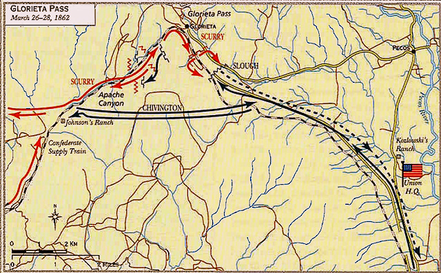 an annotated map of the battle of glorieta p not indicated is pidgeon s ranch which is at the forked red arrows it was here that confederate rifleman